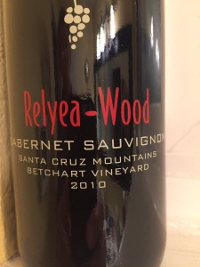 2010 Relyea Wood Vineyards Santa Cruz Mountains Cabernet Sauvignon